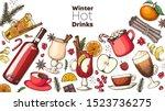 hot drinks. mulled wine  winter ... | Shutterstock .eps vector #1523736275