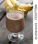 chocolate milkshake with banana ...   Shutterstock . vector #152377586