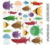 cartoon cute animals for baby... | Shutterstock .eps vector #1523815835