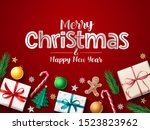 merry christmas greeting vector ... | Shutterstock .eps vector #1523823962