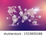 world map point with global... | Shutterstock . vector #1523850188