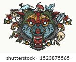 wolf head. color tattoo and t... | Shutterstock .eps vector #1523875565