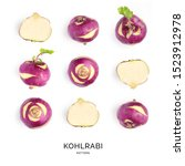 Small photo of Seamless pattern with kohlrabi. Fruits abstract background. Kohlrabi on the white background.