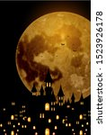 halloween autumn castle...   Shutterstock . vector #1523926178