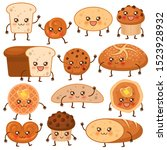 bread characters. funny bakery... | Shutterstock .eps vector #1523928932