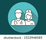 doctor vector icon with long... | Shutterstock .eps vector #1523948585