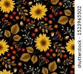 autumn sunflowers with black... | Shutterstock .eps vector #1523965502