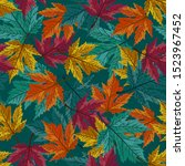 autumn maple leaves with teal... | Shutterstock .eps vector #1523967452