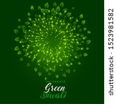 green fireworks with leaves for ... | Shutterstock .eps vector #1523981582