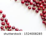 frame of red cherries on a... | Shutterstock . vector #1524008285