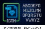 glowing neon ruby file document.... | Shutterstock .eps vector #1524021935