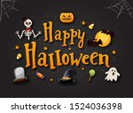 halloween typography with icons ... | Shutterstock .eps vector #1524036398