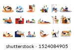 people with laptop computer set.... | Shutterstock .eps vector #1524084905