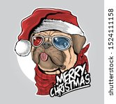 Pug Puppy Dog Santa Claus...