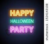 happy halloween party neon sign.... | Shutterstock .eps vector #1524143108