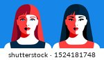 european and asian girls with...   Shutterstock .eps vector #1524181748