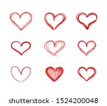 Vector Hand Drawn Hearts  Red...