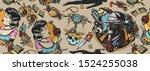 noir film seamless pattern.... | Shutterstock .eps vector #1524255038