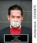 a man with a one dollar bill... | Shutterstock . vector #15242872