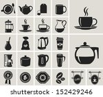 tea and coffee black icon set