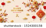 horizontal banner with gold... | Shutterstock .eps vector #1524300158