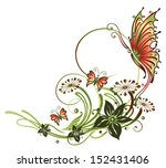colorful butterflies  floral... | Shutterstock .eps vector #152431406