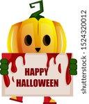 pumpkin with sign  illustration ... | Shutterstock .eps vector #1524320012
