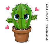 cute cartoon cactus with eyes... | Shutterstock .eps vector #1524341495
