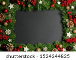 christmas border frame of tree... | Shutterstock . vector #1524344825