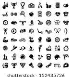 vector black sport icons set on ... | Shutterstock .eps vector #152435726