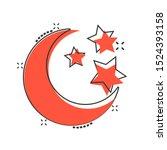 vector cartoon nighttime moon...