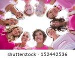 group of happy women in circle...   Shutterstock . vector #152442536