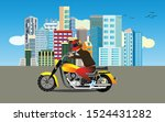 motorcyclist driving on the... | Shutterstock .eps vector #1524431282