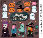 happy halloween character set   ... | Shutterstock .eps vector #152444732