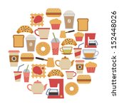 round card flat cafe design... | Shutterstock .eps vector #152448026