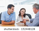 smiling couple signing contract ... | Shutterstock . vector #152448128