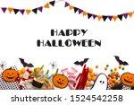 happy halloween message with... | Shutterstock . vector #1524542258