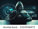 Hacker using laptop with abstract digital car hologram on dark background. Automation and transport concept. Double exposure    - stock photo