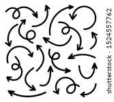 black hand drawn arrows set on... | Shutterstock .eps vector #1524557762