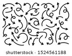 black hand drawn arrows set on... | Shutterstock .eps vector #1524561188