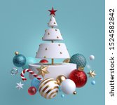3d christmas tree ornaments... | Shutterstock . vector #1524582842