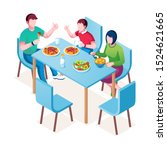 family enjoying meal at table.... | Shutterstock .eps vector #1524621665