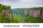 Scenic view overlooking Ouimet Canyon in Ontario, Canada