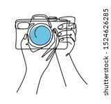 photographer drawn continuous... | Shutterstock .eps vector #1524626285