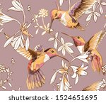 Seamless Floral Pattern. Gold...
