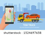 tow truck  roadside assistance .... | Shutterstock .eps vector #1524697658