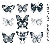 Butterflies Set. Vector Hand...
