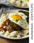 Small photo of Homemade Hawaiian Loco Moco with Hamburger and Rice
