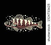 fish line art tattoo vector   Shutterstock .eps vector #1524733625