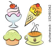 set of four items. desserts and ... | Shutterstock . vector #152481062